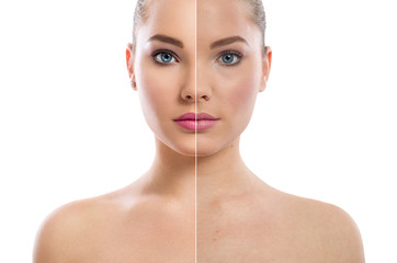 woman's portrait isolated on white, before and after retouch