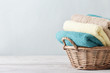 Bath towels in wicker basket - 73998626