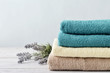 Stack of bath towels - 73998662