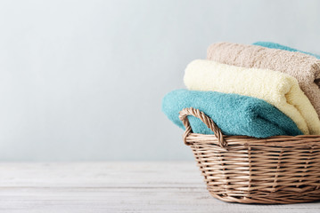 Bath towels in wicker basket