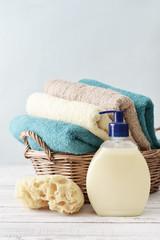 Liquid soap, sponge and towels