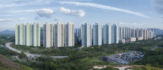 Panorama view of public estate in Hong Kong