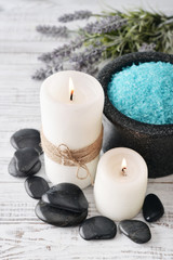 Candles with lavender flowers