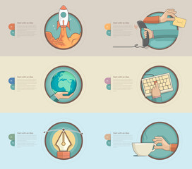 Flat design banners with flat concept icons for templates