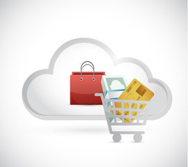 shopping cart online cloud illustration
