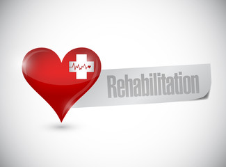 rehabilitation heart sign illustration design