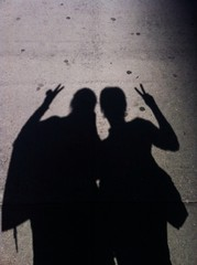 Two women shadow