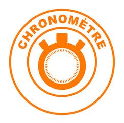 chronomètre sur bouton web rond orange
