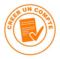 créer un compte sur bouton web rond orange