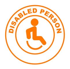 disabled person on orange web button