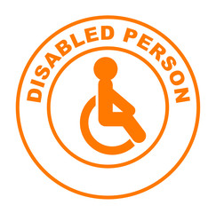 disabled person on web button orange