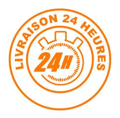 livraison 24 heures sur bouton web rond orange