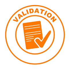 validation sur bouton web rond orange