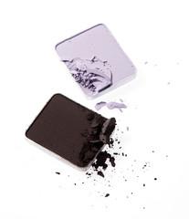 Brown and purple colour eye shadow
