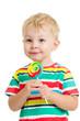 kid boy eating lollipop isolated