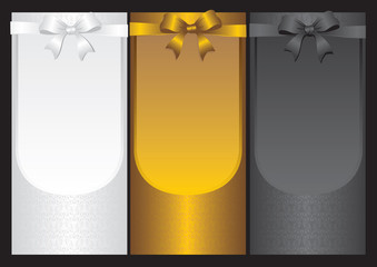Black White and Gold Labels with Ribbon Decoration