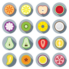 Flat Icons Set : Piece of Fruits