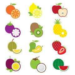 Icons Set : Fruits & Piece of Fruits