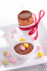 chocolate mousse and easter egg