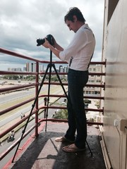 photographer at horse race track in port louis