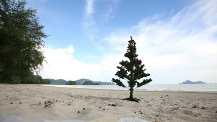 Christmas tree on the beach in Thailand