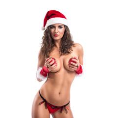 Sensual sexy woman with santa hat
