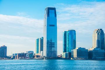 Skyline of Jersey City on bright summer day