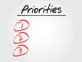 Hand writing Priorities blank List, vector concept