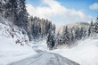 Leinwanddruck Bild - Snowy winter road