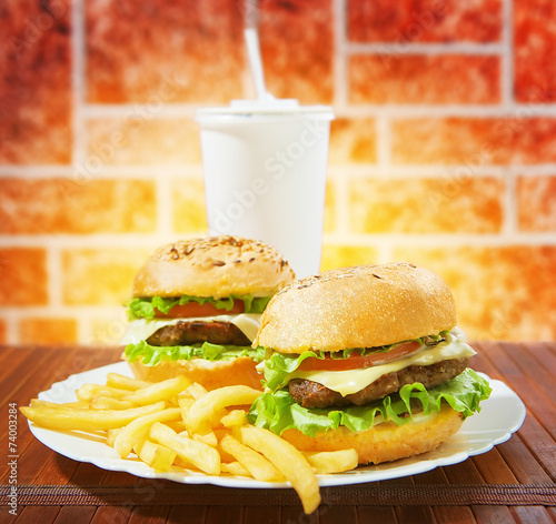 canvas print picture fastfood burgers, soda and fries