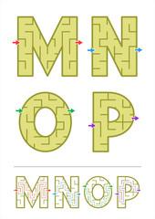 Alphabet maze games M, N, O, P