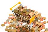 Ein Einkaufswagen ist mit Euromünzen gut gefüllt,