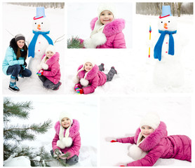 Collection of photos smiling little girl in winter day