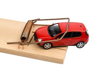 Ein Auto in einer Mausefalle,