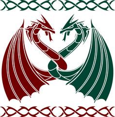 dancing dragons. stencil