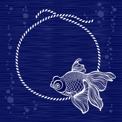 Frame with rope and fish on blue background. Hand drawn vector i