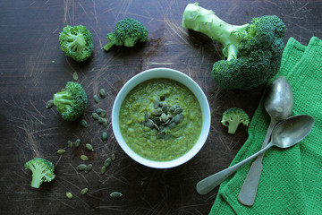 Broccoli cream soup with pumpkin seeds