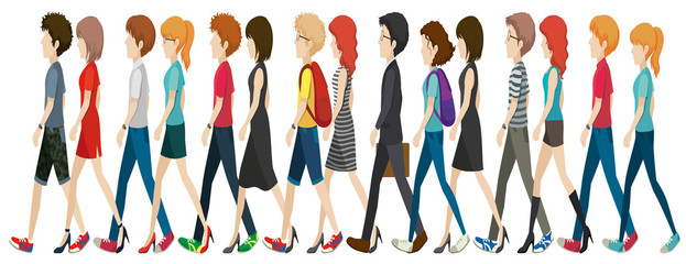 A group of faceless people walking in line