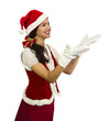 Happy girl in Santa helper costume