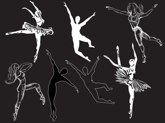seven isolated ballet dancer sketches