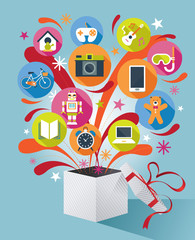 Gift Box with Gift Icons