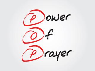 Hand writing Power Of Prayer (POP), vector concept