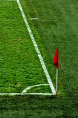 Corner flag an a soccer field
