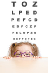 Funny girl in eyeglasses with eye chart