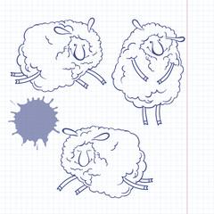 Three funny cartoon sheep. Doodle set, sketch, vector illustrati
