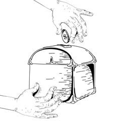 Hand giving money to moneybox.