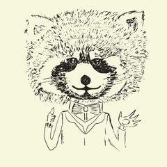 Sketch of cute funny raccoon