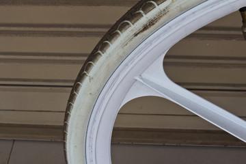 bike wheel and steel doors background