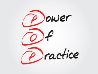 Hand writing Power Of Practice (POP), vector concept