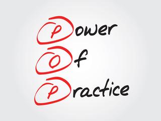 Hand writing Power Of Practice (POP), vector concept